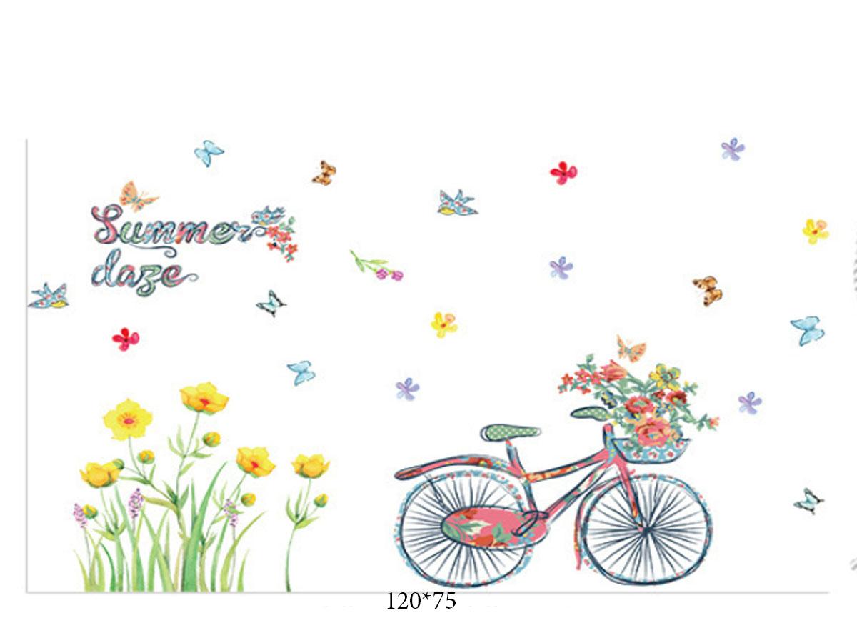 Decal dán tường xe đạp giỏ hoa summer
