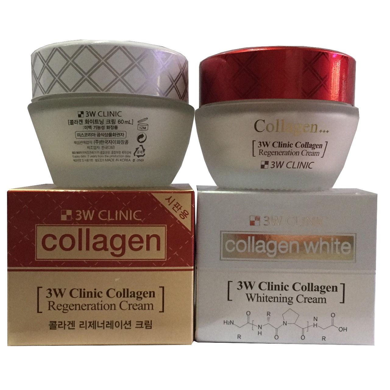Combo Kem Dưỡng Trắng Collagen Regeneration Cream 60ml (Đỏ) và Kem Dưỡng Trắng Collagen Whitening Cream 60ml (trắng) 3W Clinic nhập khẩu Hàn Quốc.
