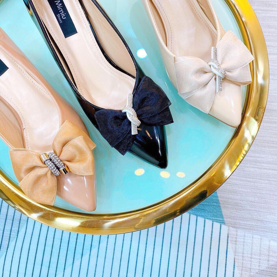 Giày búp bê nữ, giày cao gót nữ đính nơ gót cao 5p form chuẩn màu đen, kem, nâu