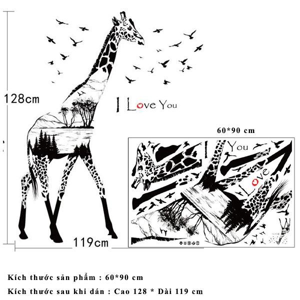 Decal dán tường chú hươu cao cổ i love you SK9198