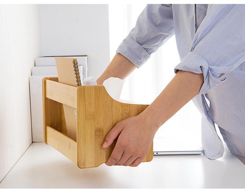Hộp đựng khăn giấy ăn đa năng bằng gỗ Tre Tự Nhiên có thể kéo dài tuỳ chỉnh để sách