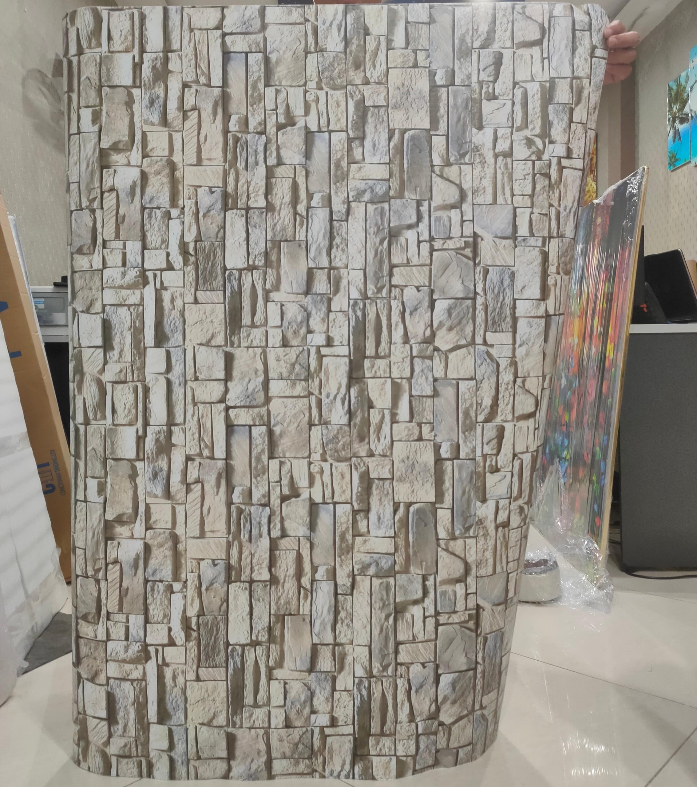 Giấy dán tường - Decal dán tường giả gạch màu ghi