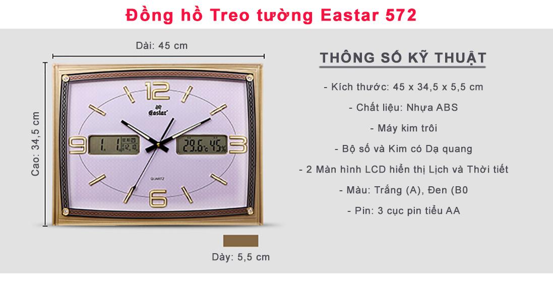 Đồng hồ Eastar Dạ quang (*), Kim trôi có Lịch Vạn Niên, Nhiệt độ và Độ ẩm (Màu Trắng)