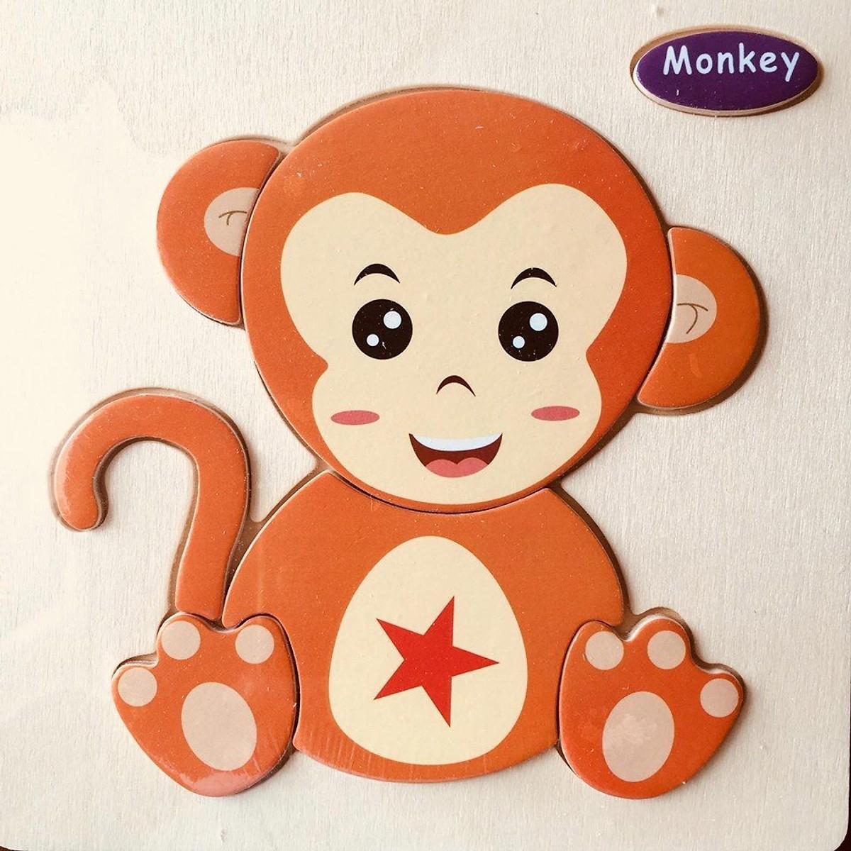 Đồ chơi cho bé làm quen với ghép hình - combo 10 tranh ghép 3D bằng gỗ MK001