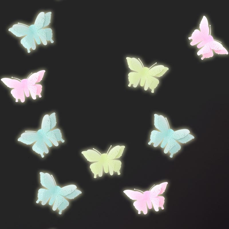 Bộ 6 miếng dán dạ quang hình con bướm