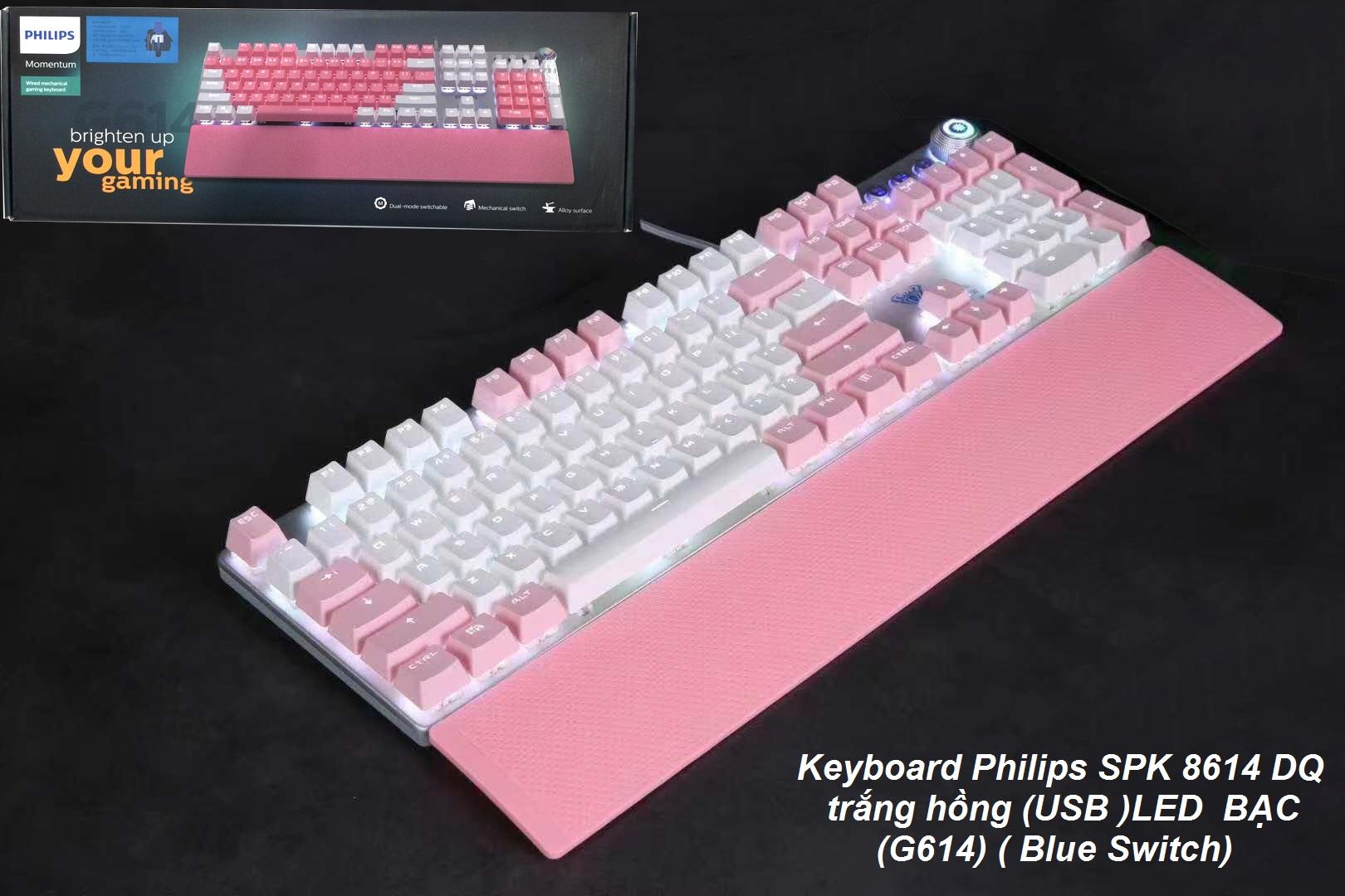 Bàn Phím vi tính Philips SPK 8614FQ có LED USB,bàn phím game thủ,phím cơ giá rẻ-hàng chính hãng