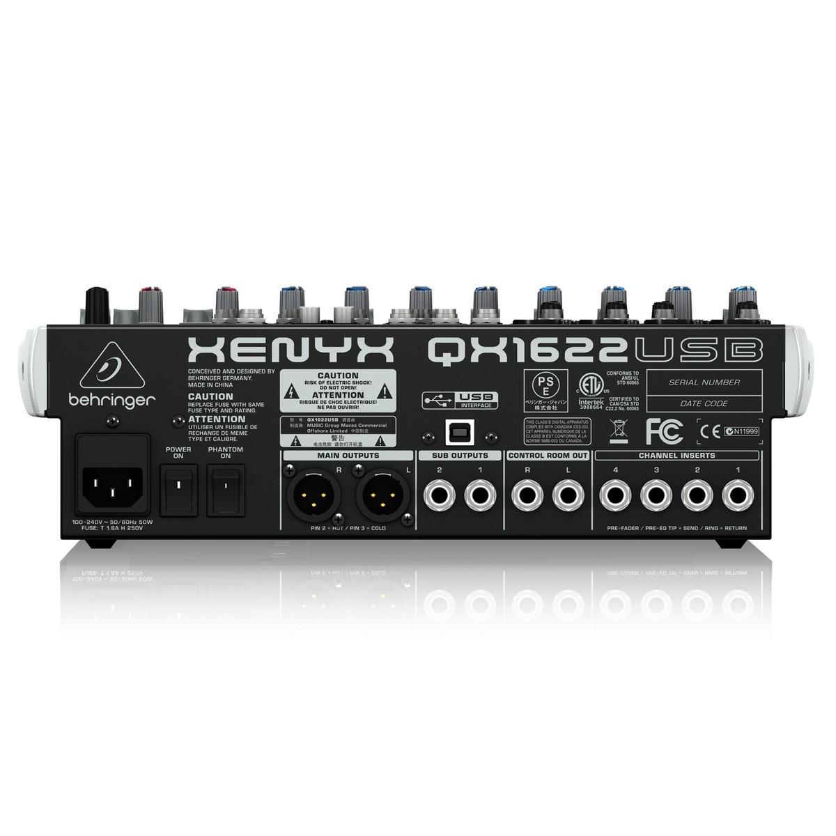 Bộ trộn Mixer USB Có Kèm Hiệu Ứng Behringer XENYX QX1622USB - Hàng Chính Hãng