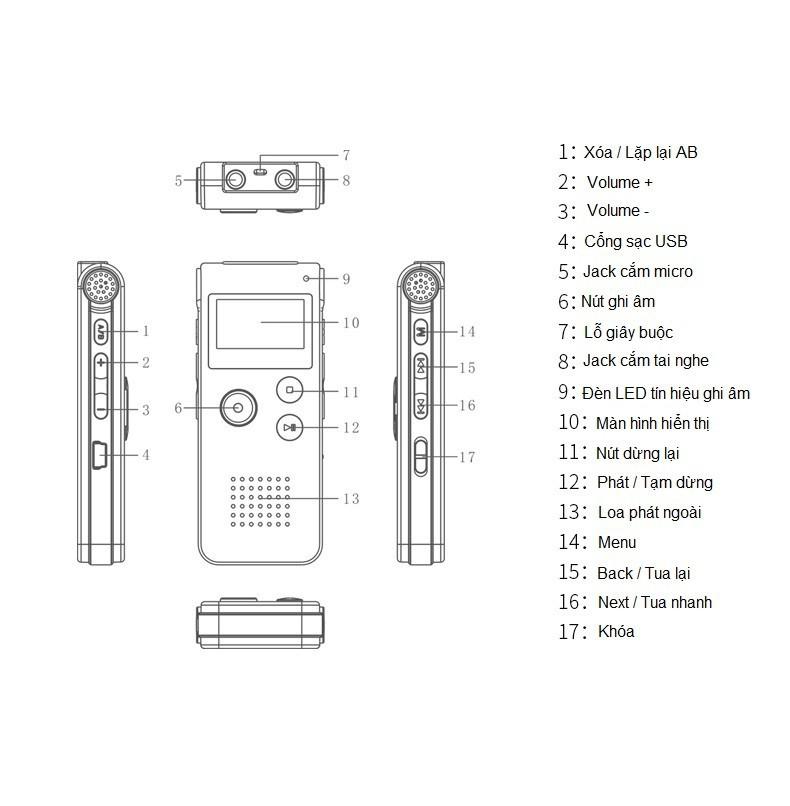 Máy Ghi Âm Siêu Nhỏ Goldseee 609 8GB Chuyên Dụng