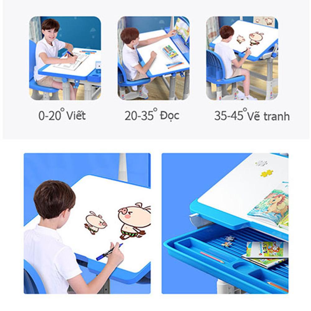 Bàn học sinh thông minh chống gù chống cận thị New Life N83 - Mặt bàn phủ chống lóa, vẽ viết vệ sinh dễ dàng - Điều chỉnh độ cao tương ứng chiều cao của trẻ - Có giá đọc sách, để Ipad - Móc treo đồ cạnh bàn- Chân thiết kế mới chắc chắn -Hàng chính hãng