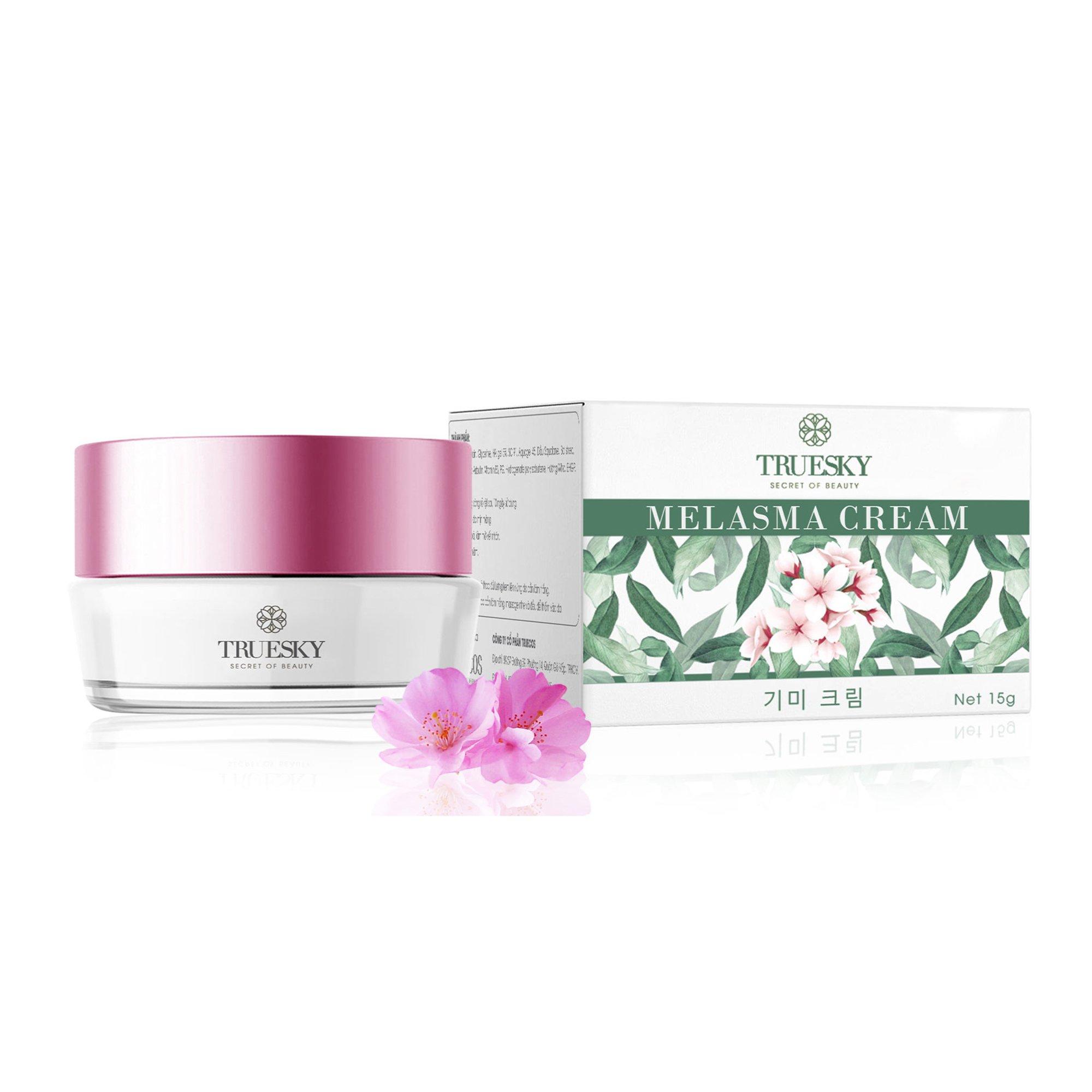 Kem ngăn ngừa nám da mặt Truesky chiết xuất hoa anh đào giúp làm mờ nám, tàn nhang, làm đều màu da 15g - Melasma Cream