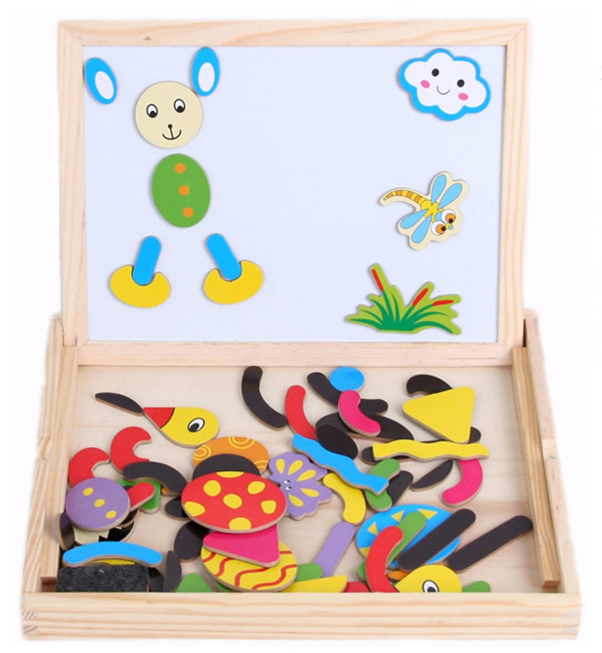 Đồ chơi gỗ trí tuệ MK - Combo đồng hồ King Kong và bảng tranh ghép nam châm ( mẫu ngẫu nhiên)