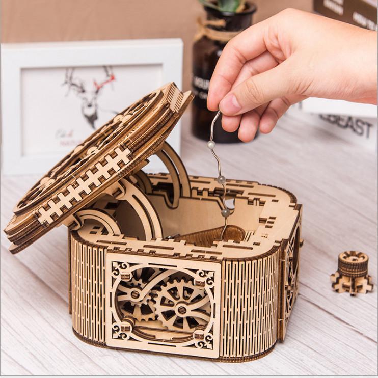 Đồ chơi lắp ráp gỗ 3D Mô hình Cơ động học Hộp kho báu Treasure Box