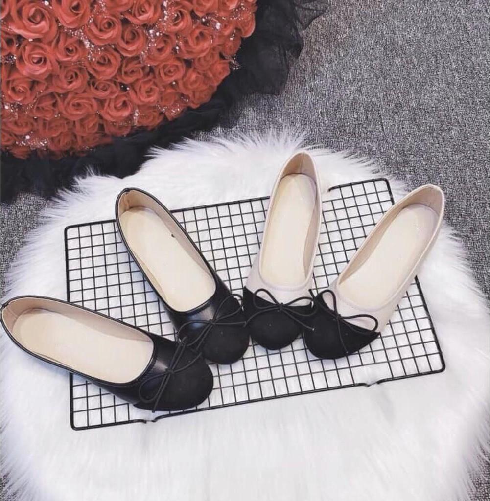 Giày bệt búp bê nữ đế bằng da mềm phối màu cực xinh