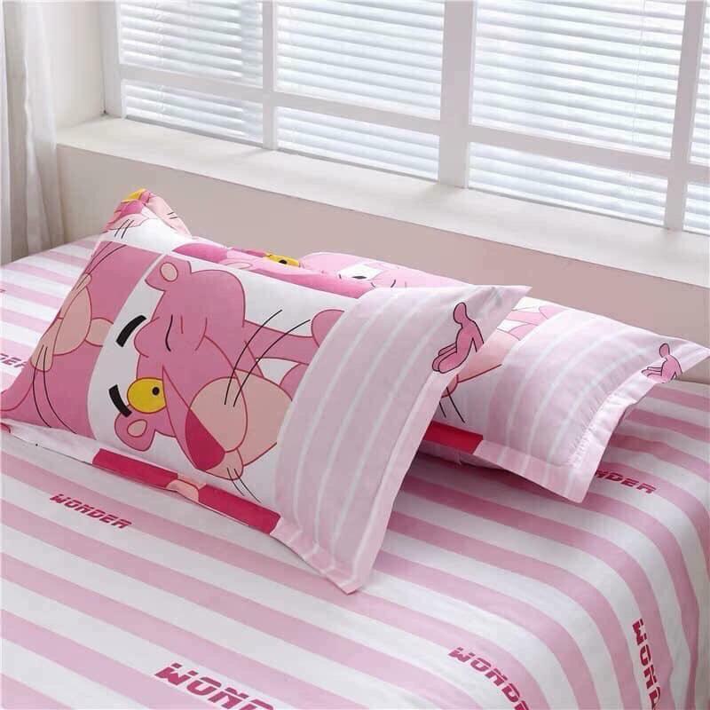 Bộ Chăn Ga Gối Cotton Poly Báo Hồng Pink Panther