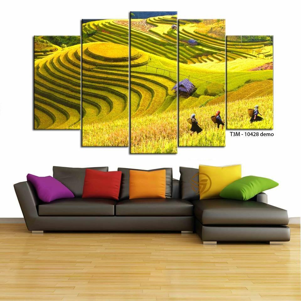 Tranh treo tường trang trí Ruộng bậc thang 5 tấm 3D/gỗ MDF Hàn Quốc chống ẩm mốc, mối mọt