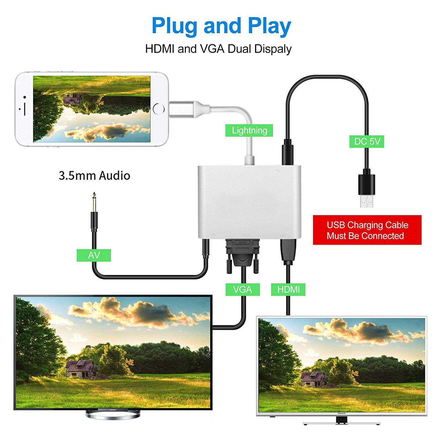Cáp chuyển đổi Lightning to Digital AV Multiport HDMI VGA Audio