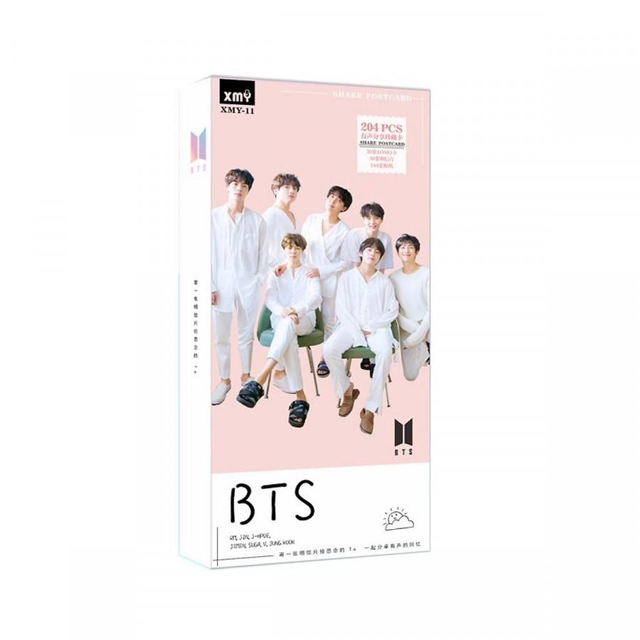 Postcard Bts 204 hình hộp hồng y phục trắng