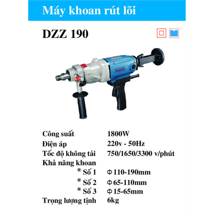 Máy Khoan Rút Lõi Cầm Tay Dongcheng DZZ190