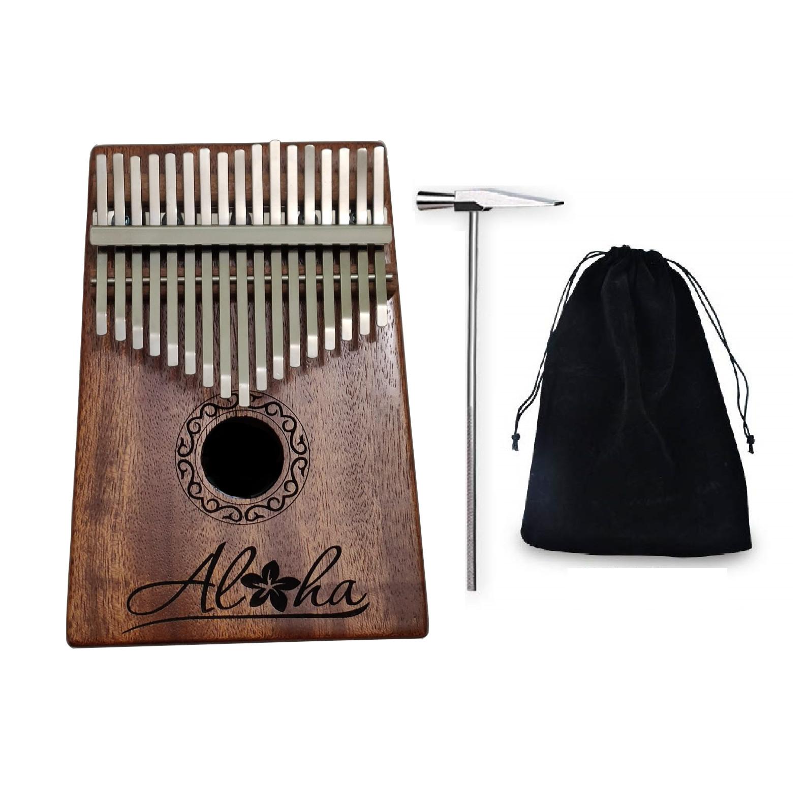 Kalimba 17 phím gỗ mahagony phủ sơn bóng cao cấp khắc chữ Aloha KLALO00017- Tặng túi nhung, đầy đủ phụ kiện