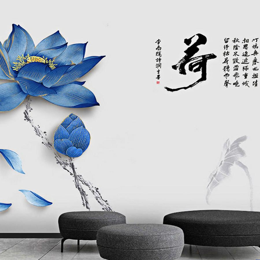 decal dán tường hoa sen xanh một nụ một bông to 2 mảnh gs9173