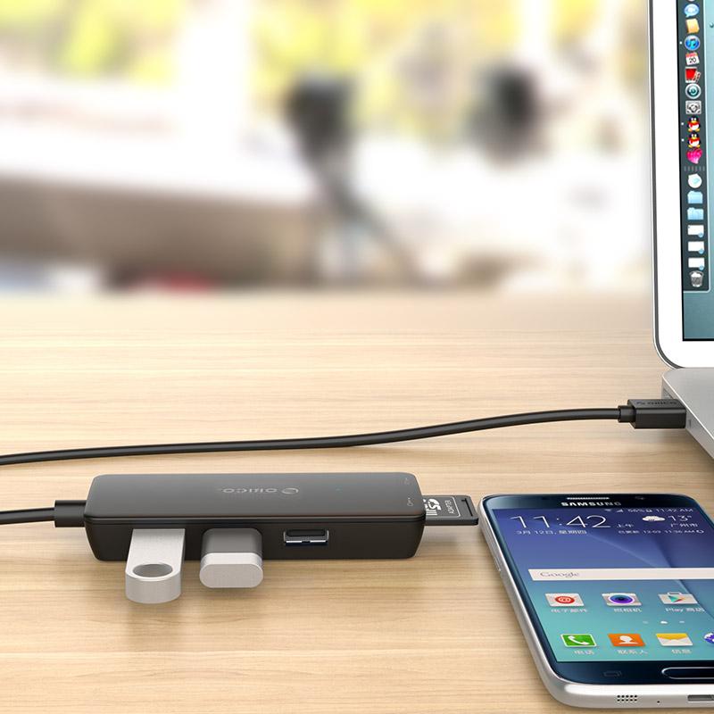 Bộ chia USB HUB 3 cổng USB 2.0 tích hợp đầu đọc thẻ nhớ TF/SD Orico H3TS-U2 - Hàng nhập khẩu