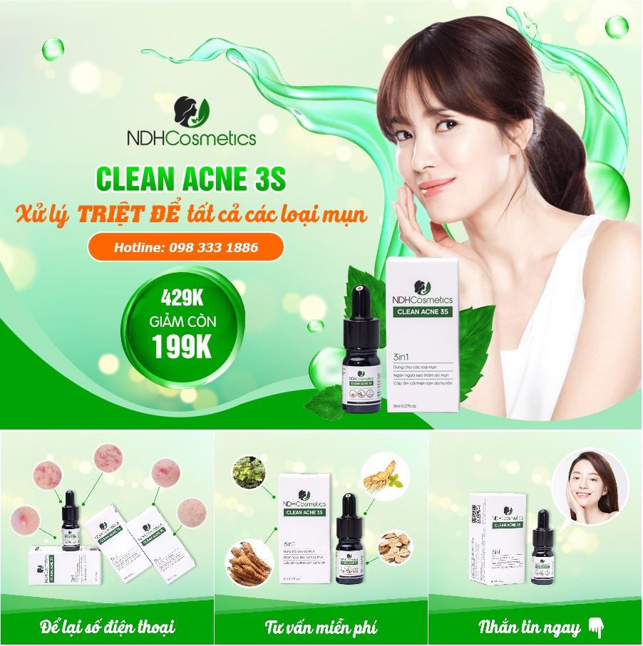 Serum Ngừa Mụn Clean Acne 3S 8ml 100% Tự Nhiên