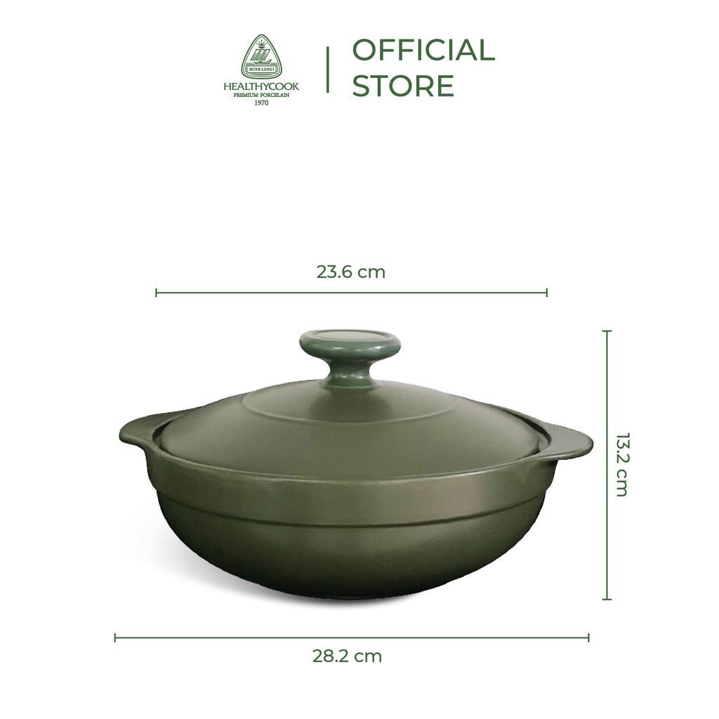Nồi sứ dưỡng sinh Minh Long - Luna 2.0 L + nắp dùng cho bếp từ