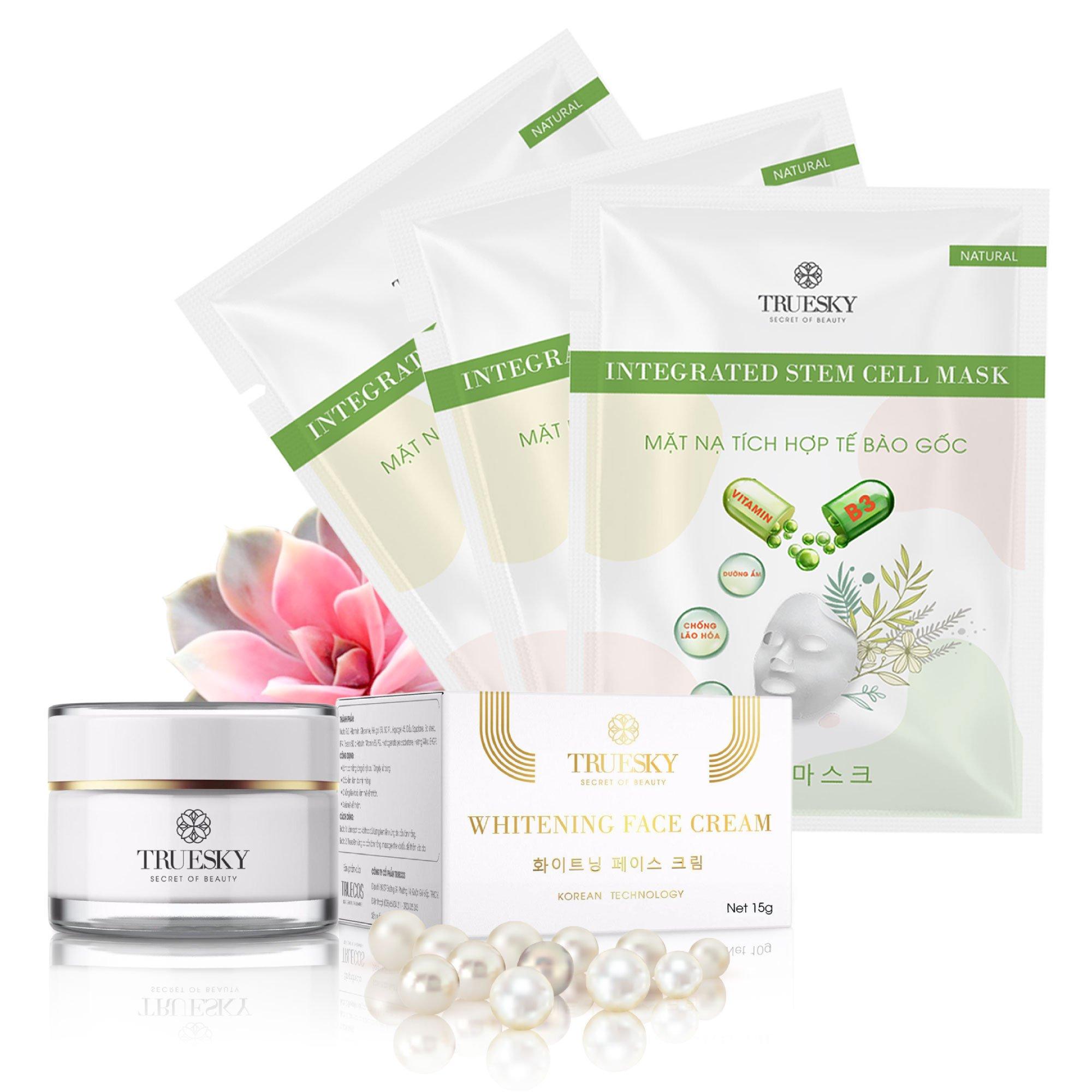 Bộ sản phẩm trắng da mặt Truesky P01 gồm 1 kem trắng da mặt 15g và 3 miếng mặt nạ trắng da tế bào gốc Truesky
