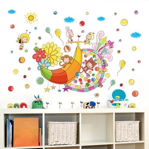 Decal dán tường thiên đường của khỉ và chuối cho bé XL7169