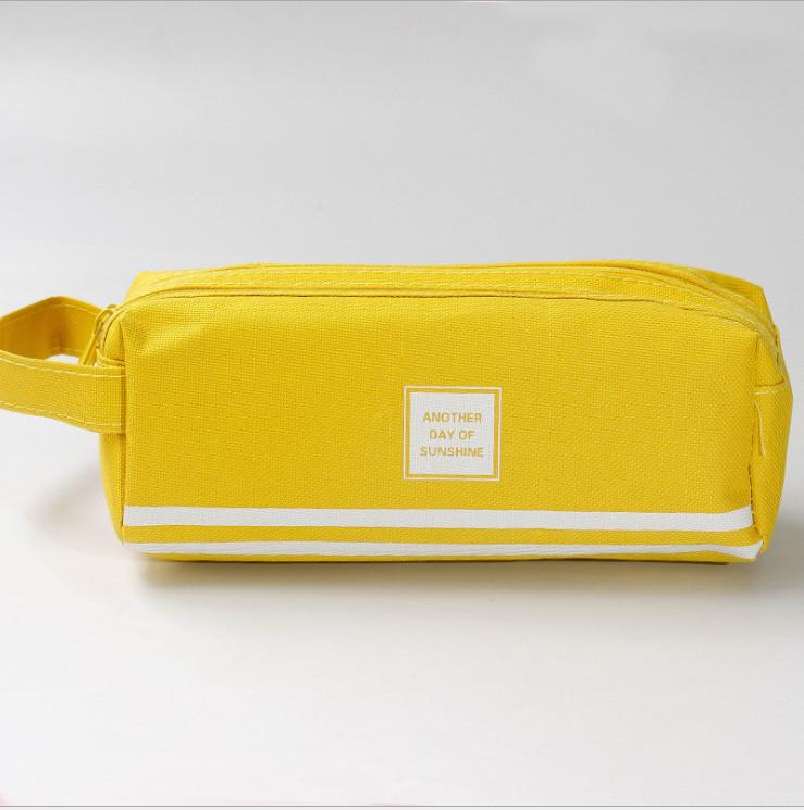 Túi đựng bút 2 ngăn tiện dụng, túi đựng đồ dùng họp tập trơn màu phong cách vintage - Giao màu ngẫu nhiên