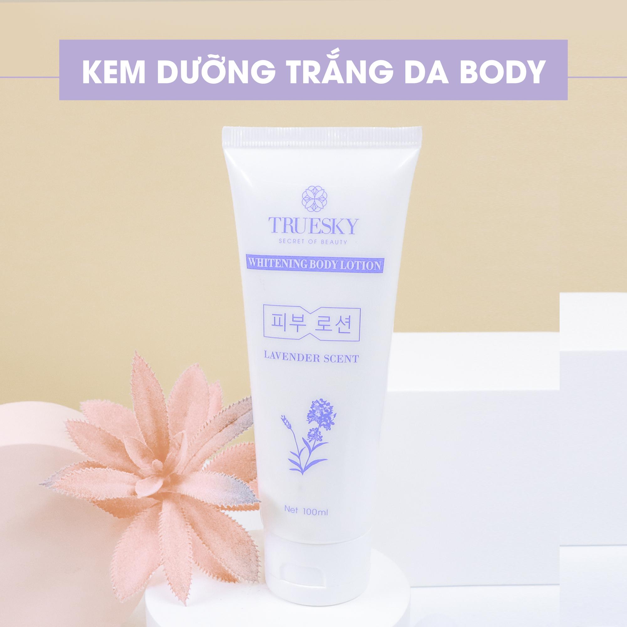 Bộ Truesky VIP06 gồm 1 kem ủ trắng body & 1 kem trắng da mặt & 1 sữa rửa mặt trắng da & 1 dưỡng trắng body Lavender