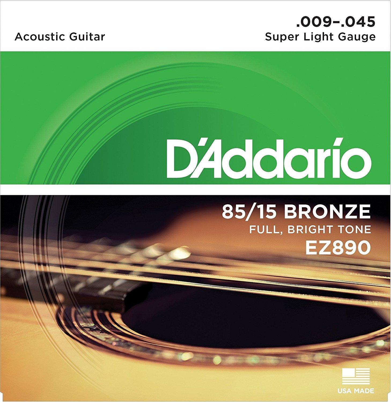 D'Addario EZ890 - Bộ Dây Đàn Guitar Acoustic Cỡ 9 (.009-.045) - Chính Hãng (85/15 Bronze Strings Ghi-ta) - Kèm Móng Gảy DreamMaker