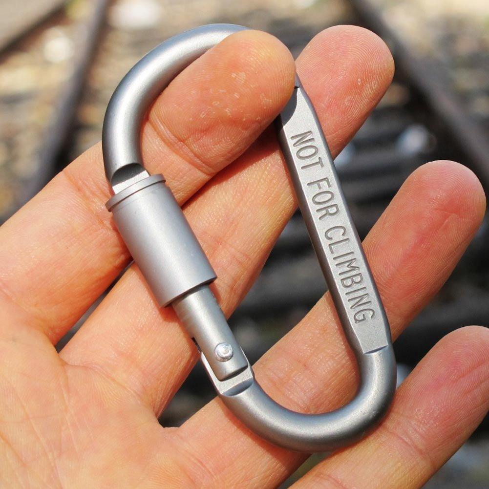 Combo 2 Móc Đa Năng Móc Khóa Nhôm Đi Phượt Carabiner Chữ D Khoá Xoay 8cm