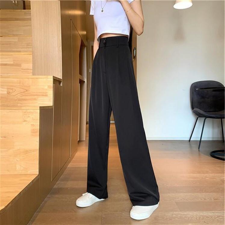 Quần vải suông dáng dài mềm mịn, quần ống rộng chiết ly khóa kéo cực mát dành cho nữ.
