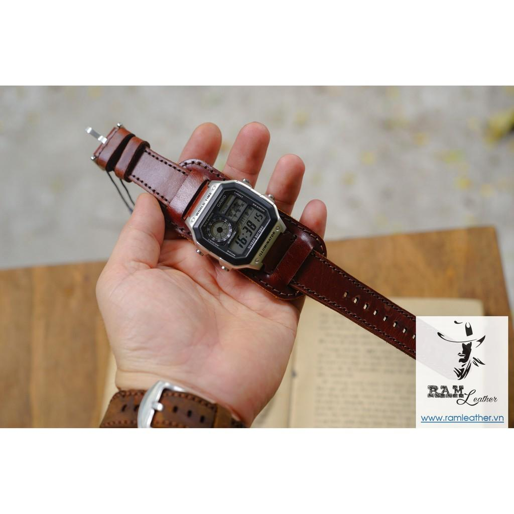 - Dây đồng hồ kiểu Đức (Bundstrap) RAM B1 da bò NÂU ĐỎ (da bò thật) – COMBO RAM B1 +1981