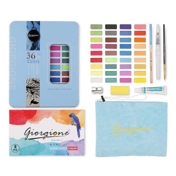 Bộ Màu nước vẽ cao cấp 36 màu nén tặng kèm 8 món gồm túi đựng, bút nước, bút lông, bút chì, miếng mút, giấy vẽ, gọt chì, tuýp màu lẻ