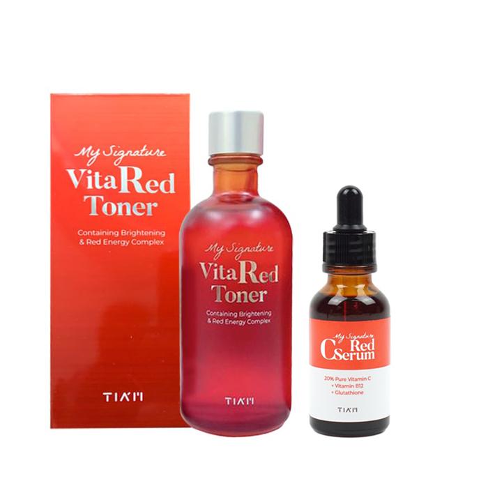 Combo Nước hoa hồng và Tinh chất phục hồi dưỡng trắng sáng da, mờ vết thâm Tiam (Toner 130ml + Serum 30ml)