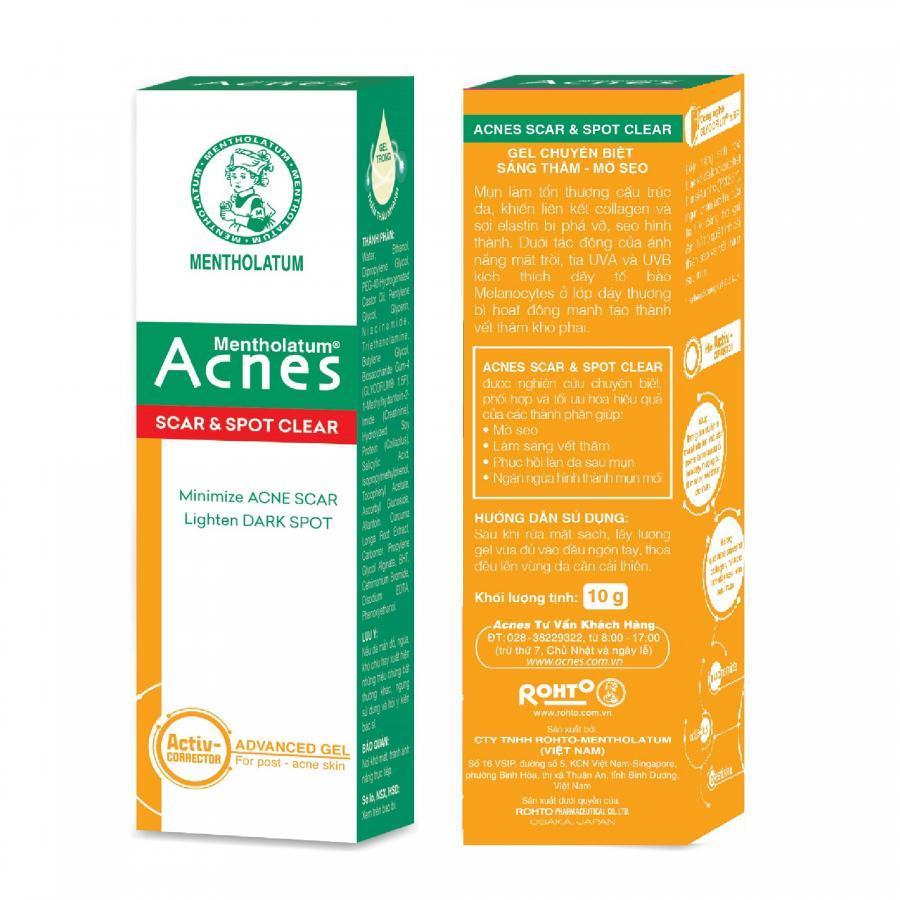 Gel chuyên biệt sáng thâm mờ sẹo Acnes Scar and Spot Clear 10g + Tặng Kem rửa mặt Acnes Vitamin 25g