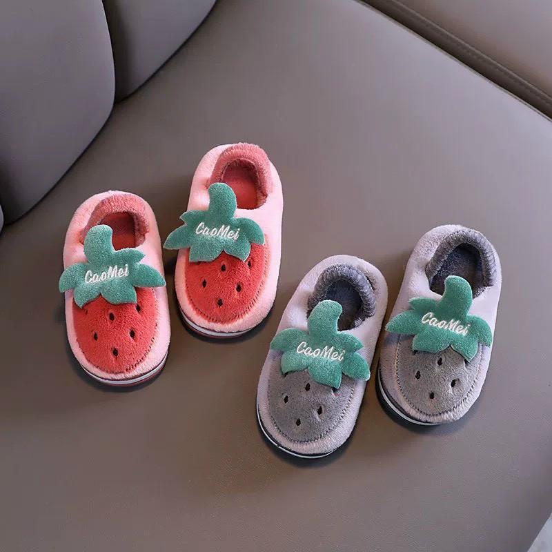 Giày Nhung  bông hoa quả cho bé yêu