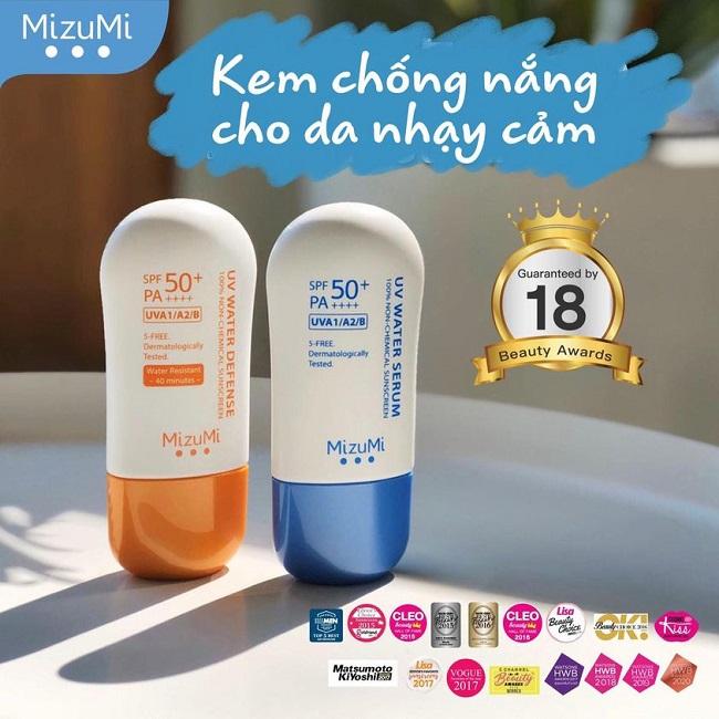 Kem Chống Nắng MizuMi UV Water Defense 100% Non-Chemical Sunscreen Không Thấm Nước SPF50+ PA++++ 30g