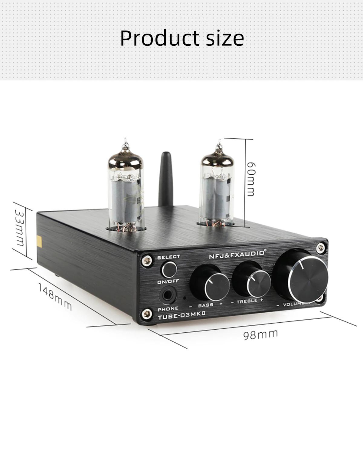 Bộ Preamplifier FX-AUDIO TUBE-03 MKII Bản Nâng Cấp Dùng Bóng 6K4 Chipset ESS9023 Công Nghệ Bluetooth 5.0 HIFI Audio Treble Bass Adjustment Pre-amps DC12V - Hàng Chính Hãng