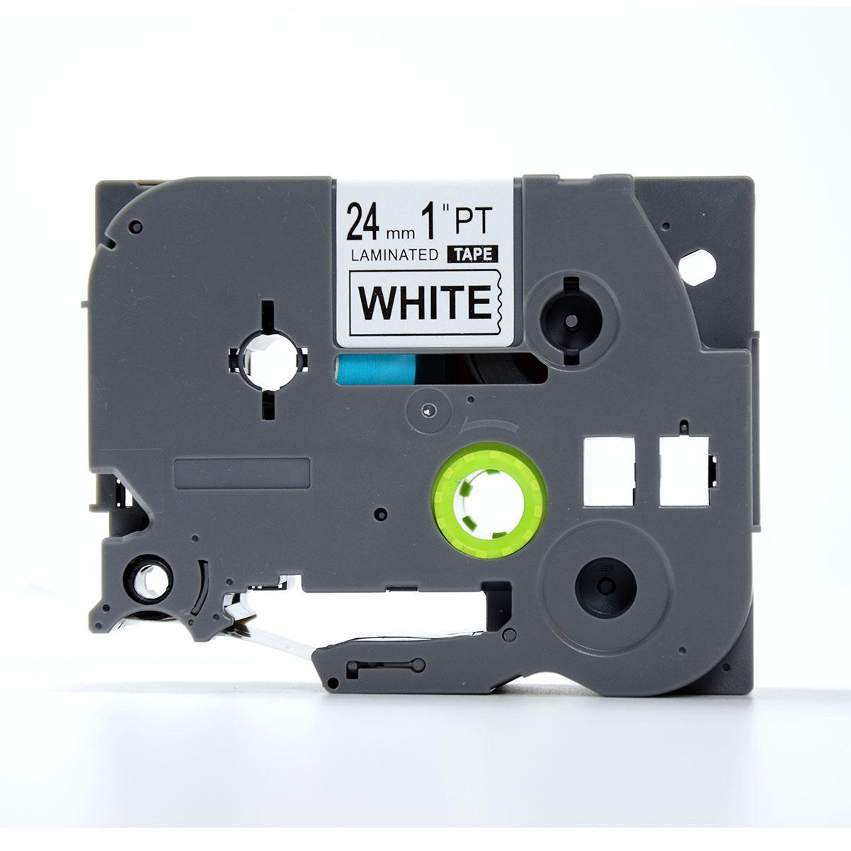 Nhãn in chữ đen trên nền trắng TZ2-S251 (24 mm dùng cho máy in nhãn)