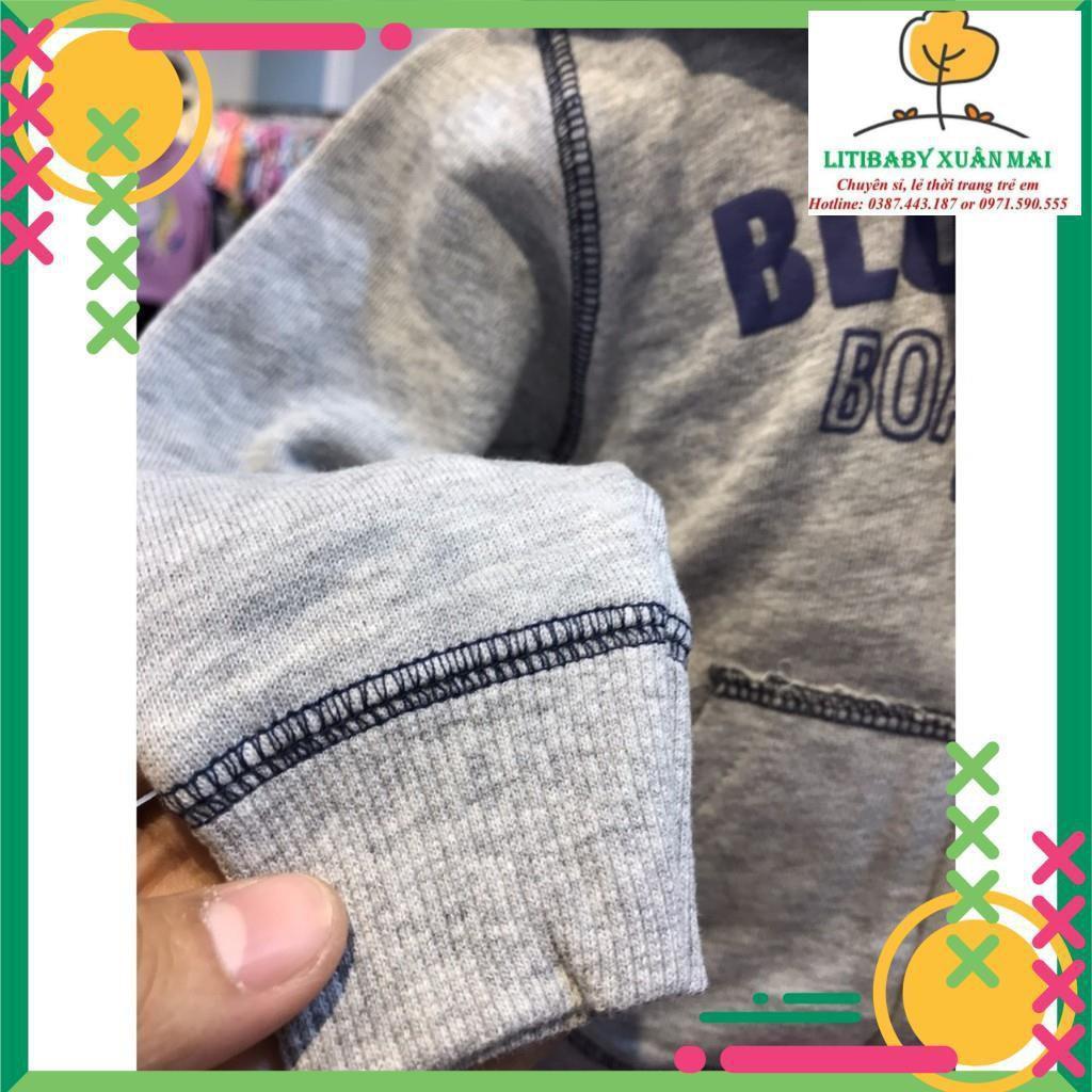 Áo khoác nỉ có mũ kéo khóa BT in chữ Size 1-8T, dành cho bé từ 9kg đên 25kg