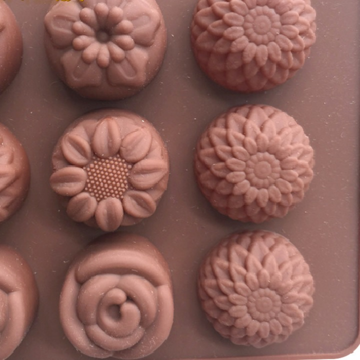 Khuôn silicon làm thạch rau câu, socola 15 bông hoa