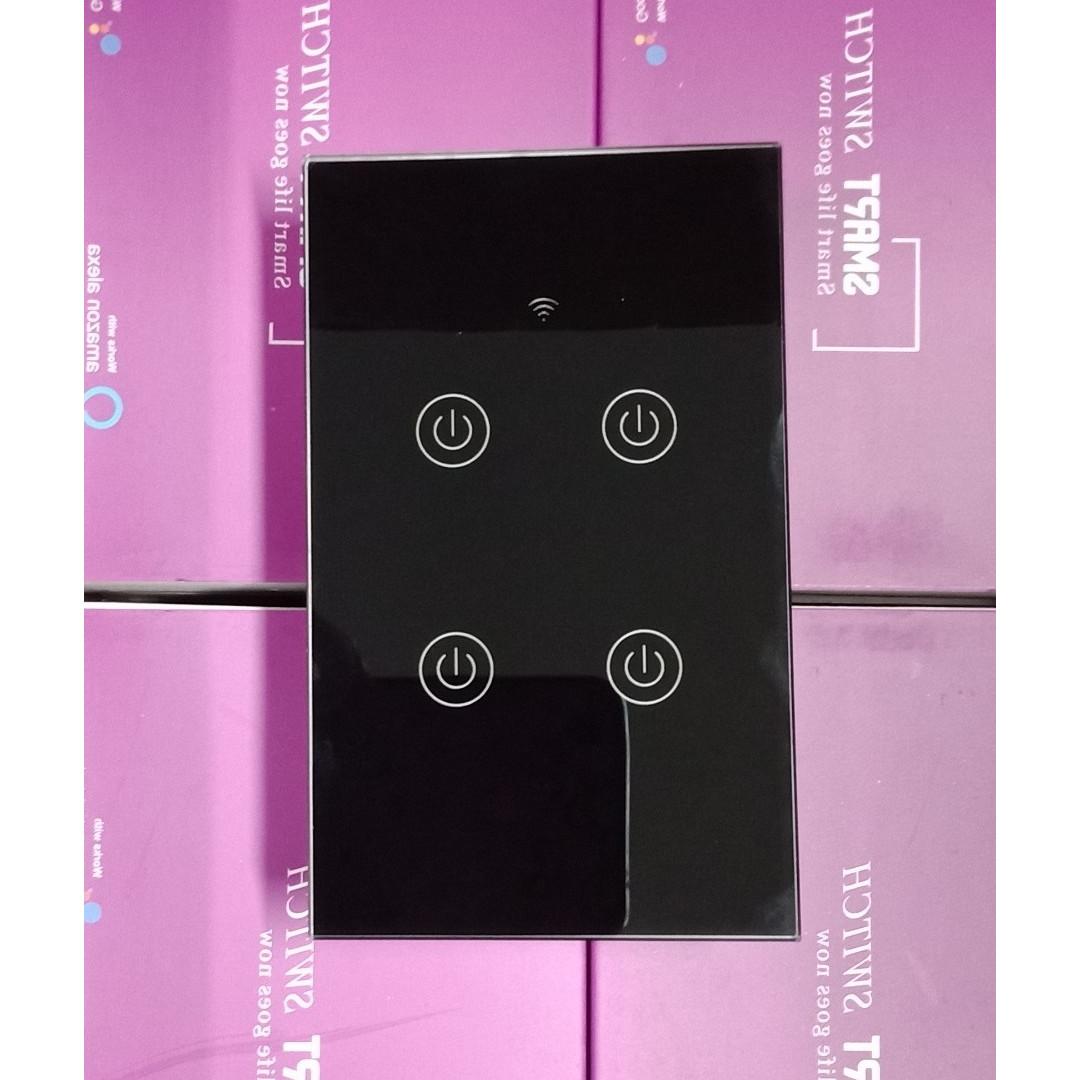 Công tắc Wifi thông minh cảm ứng 4 nút điều khiển từ xa qua Smartphone HCN màu đen (Ap Smartlife/Tuya)