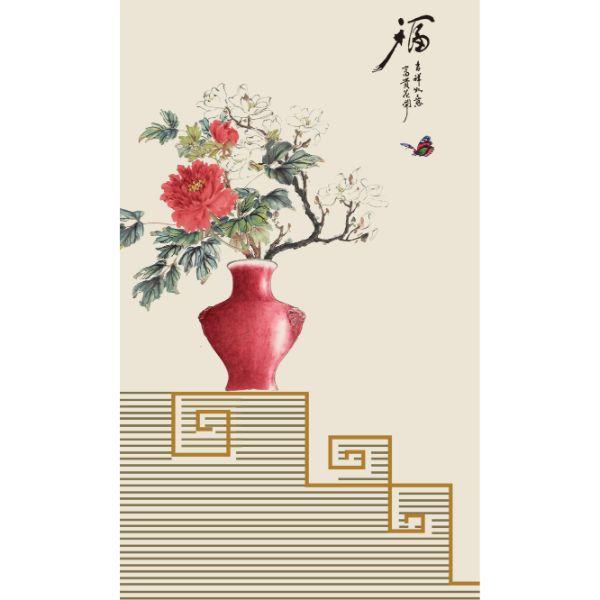 Decal Dán Tường - Tranh Bình Hoa - T3M--2417-copy