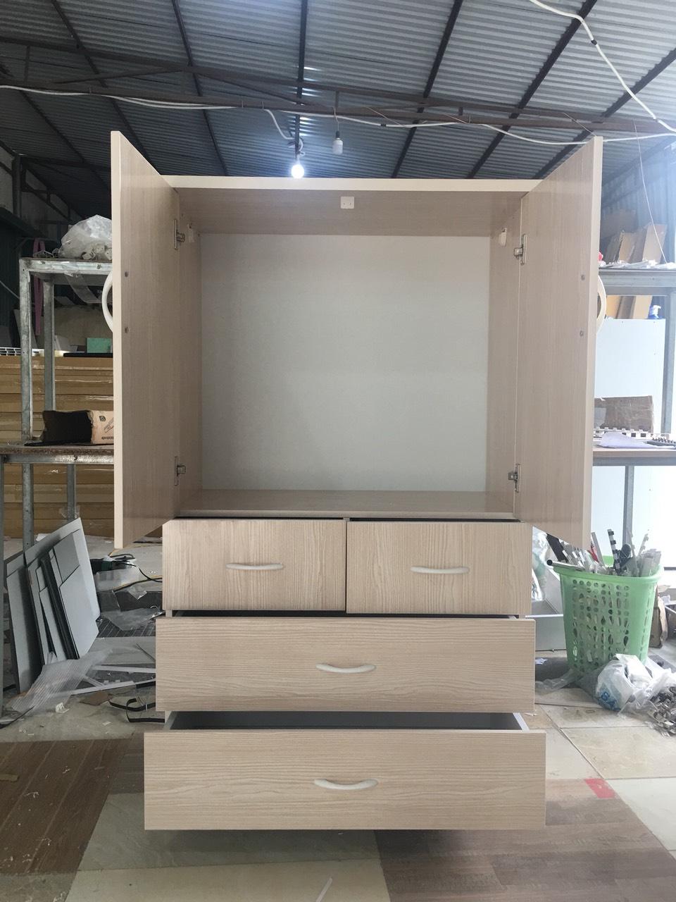 Tủ 2 cánh 4 ngăn kéo rộng 85cm cao 1m4