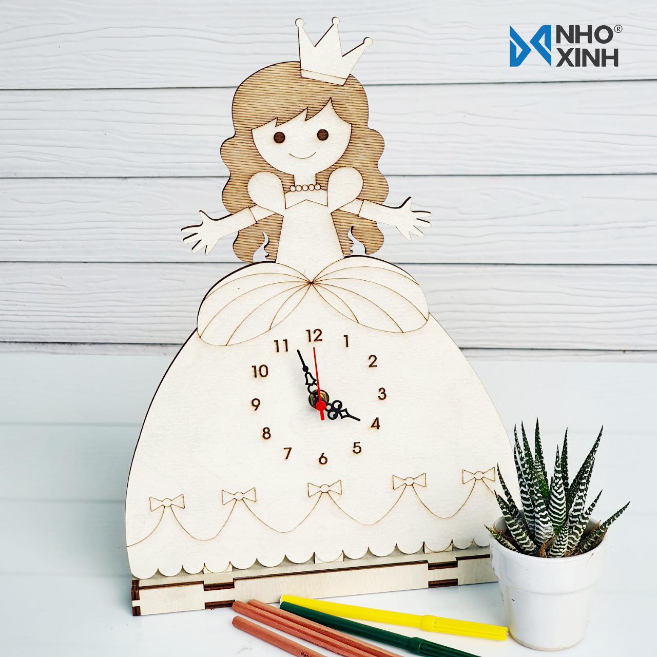 Đồng hồ để bàn công chúa - Quà tặng bé gái, trang trí bàn học, bàn làm việc, phòng khách