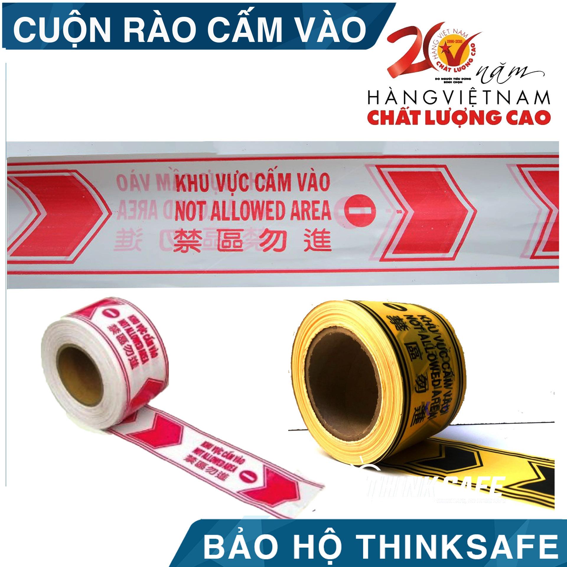 Cuộn dây cảnh báo rào chắn, cảnh báo khu vực nguy hiểm dài 100m, Cuộn rào cảnh báo có 2 màu trắng đỏ và vàng đen