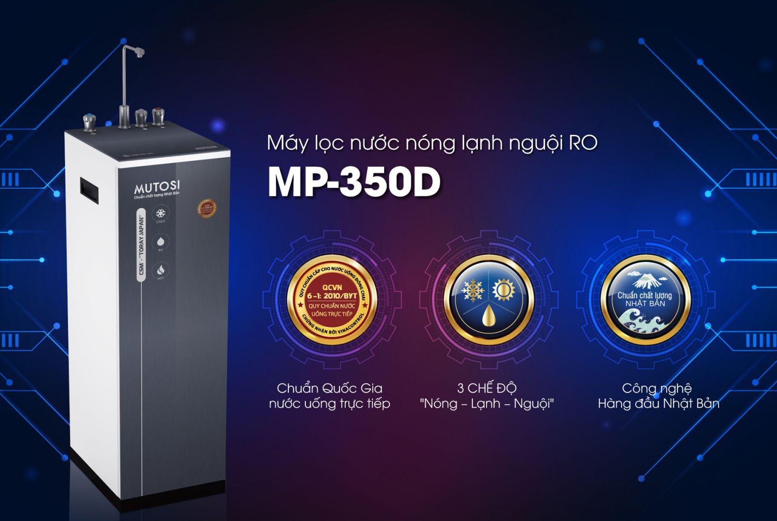 Máy lọc nước RO 3-in-1 nóng lạnh nguội Mutosi MP-350D-GR - Tủ đứng, 8 cấp lọc, công suất  10L/h - Hàng chính hãng